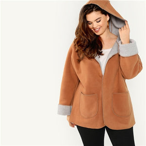 Womens Brown Fleece Lined  Hooded Coats W Pocket Front Warm Cozy *Imported