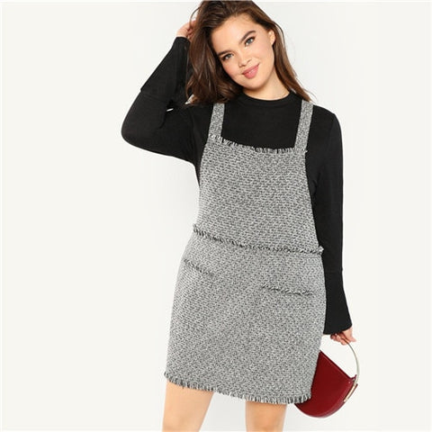 Womens  Sleeveless Frayed Trim Preppy Style Dress  Straight Tweed Pinafore *Imported
