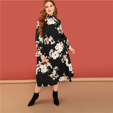 Womens Bohemian Flower Print Ruffle Sleeve Black Floral Midi Flowy Dress *Imported