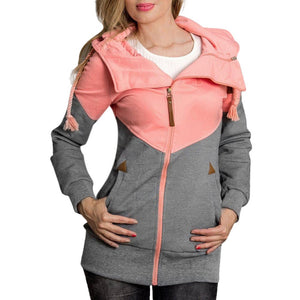 Women  Hooded Loose Color Matching Pocket Sweatshirt Coat *Imported