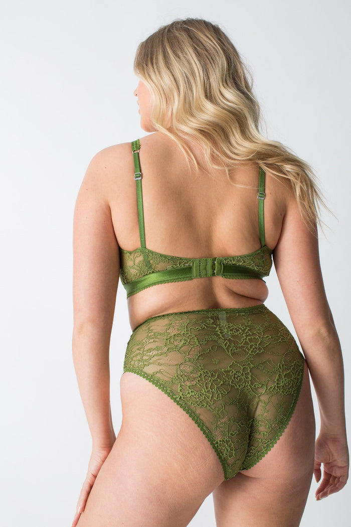 womanhood lingerie - ladies lingerie set - lonely label - lonely bra - green lace bralette