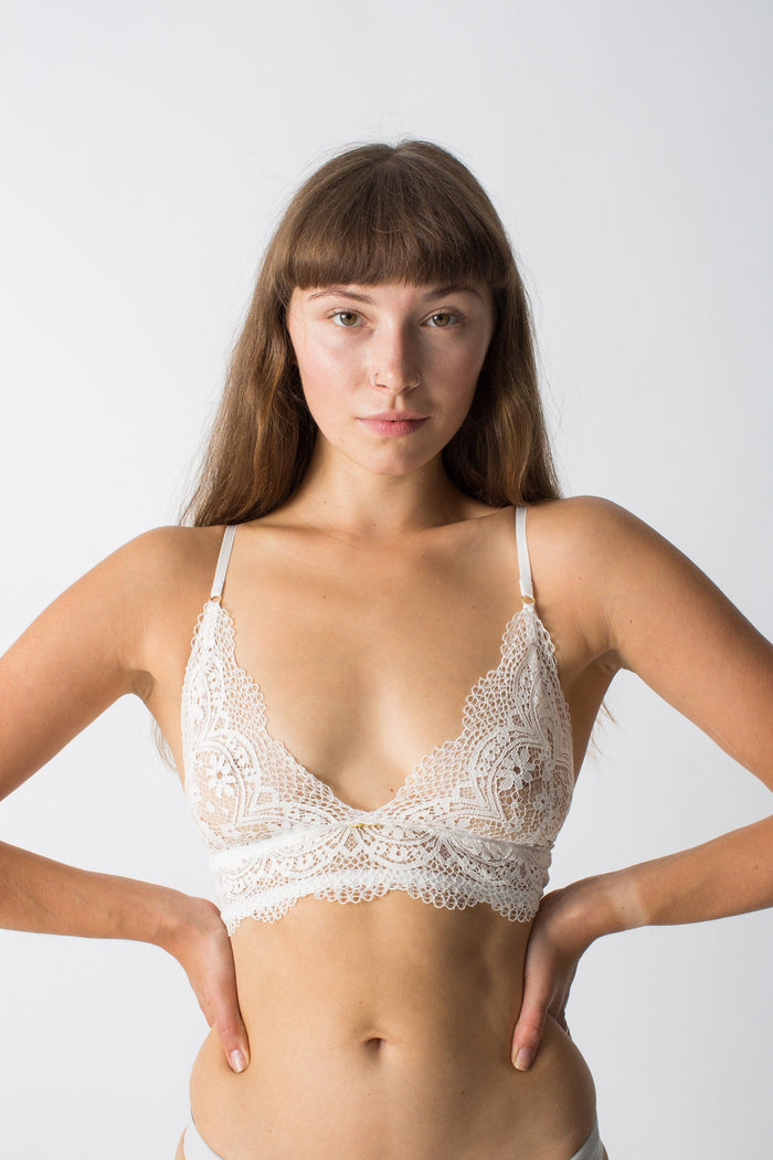 womanhood lingerie - white bralette - lace bralette - nette rose