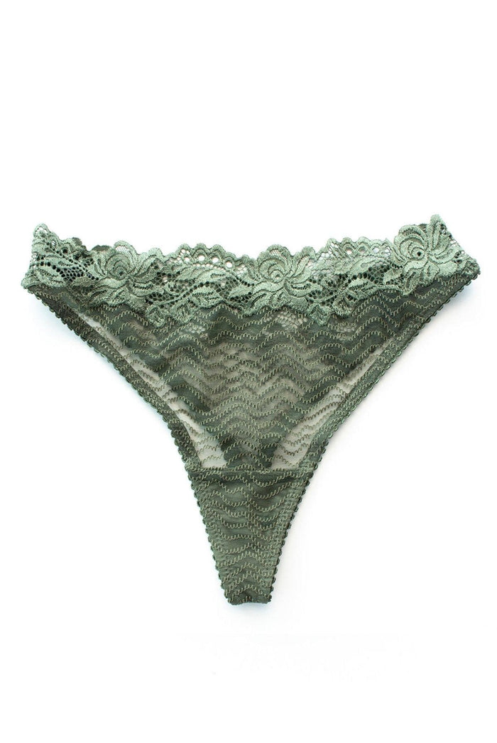 lonely lingerie womanhood thong green lace sexy