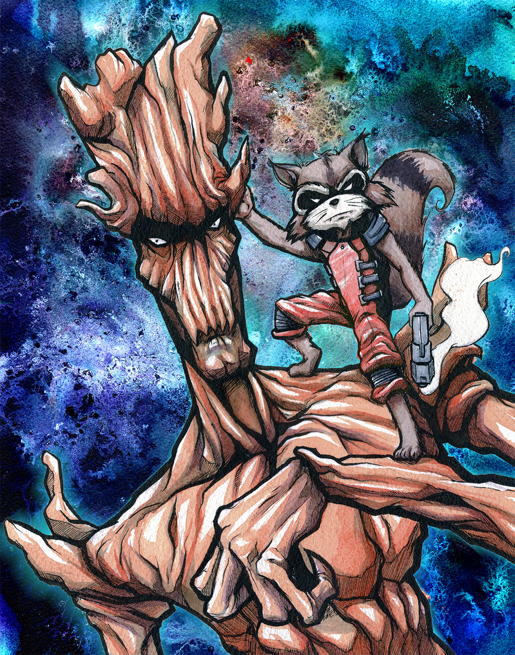 Groot and Rocket Giclee Print