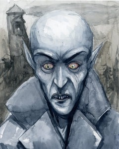 "11"" x 17"" Watercolor painting of Nosferatu"