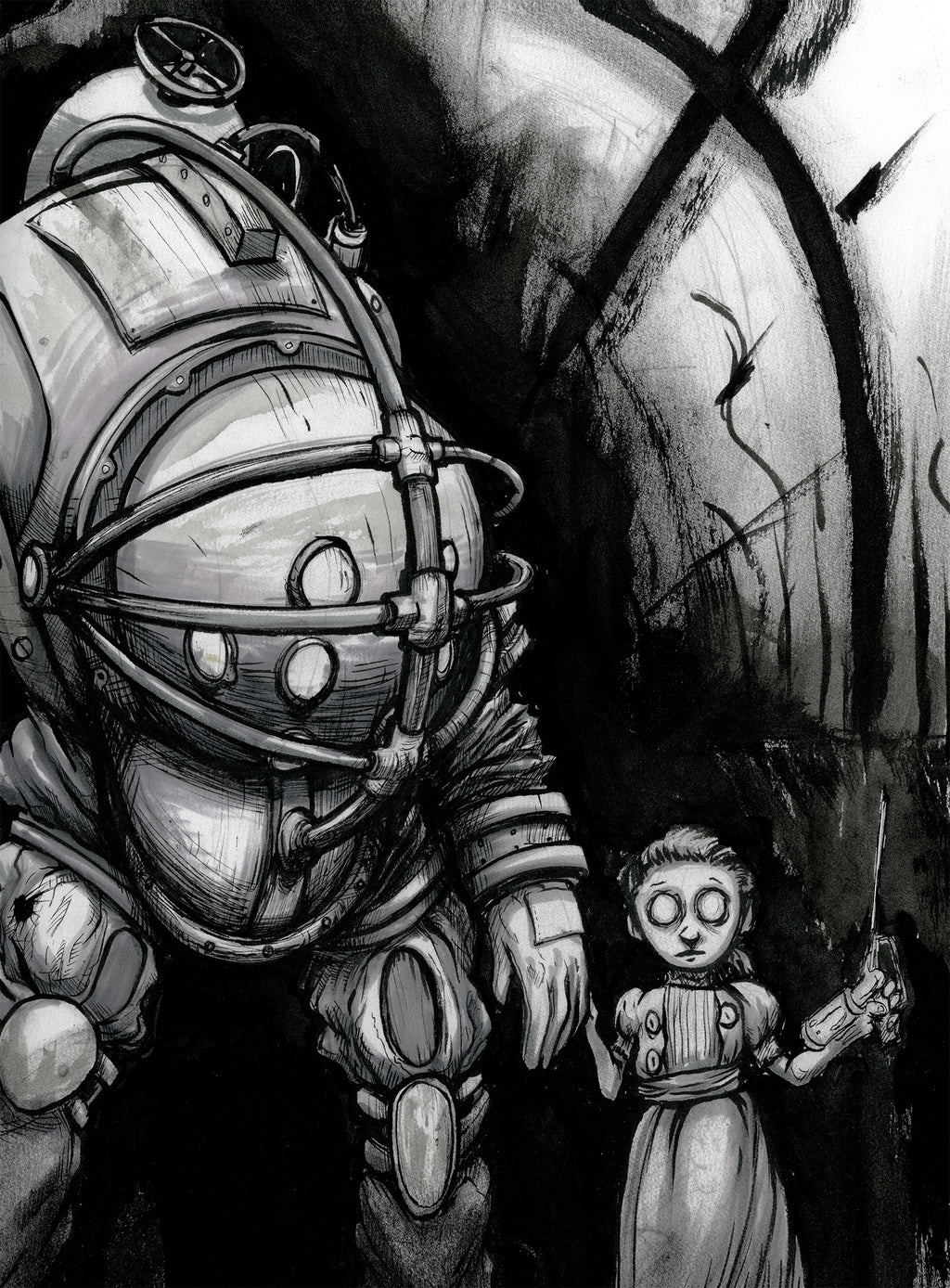 Big Daddy & Little Sister Ink Drawing Giclee Print