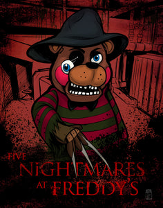 Five Nightmares at Freddy's Mashup Giclee Print
