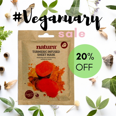 Natura Tumeric Sheet Mask Veganuary Sale My Beauty Bar UK