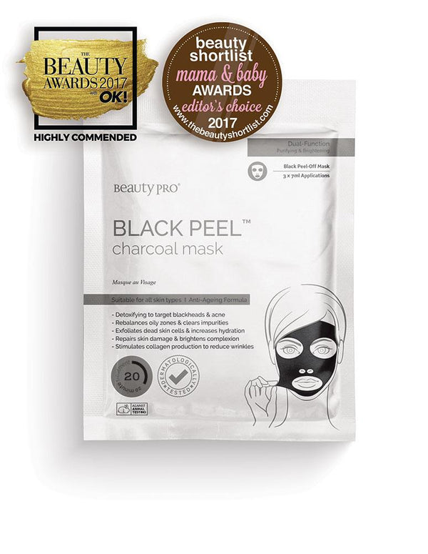BeautyPro Black Peel Charcoal Mask, 3 x 7ml - MyBeautyBar.co.uk