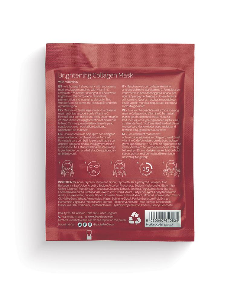 BeautyPro Brightening Collagen Sheet Mask, 23g - MyBeautyBar.co.uk