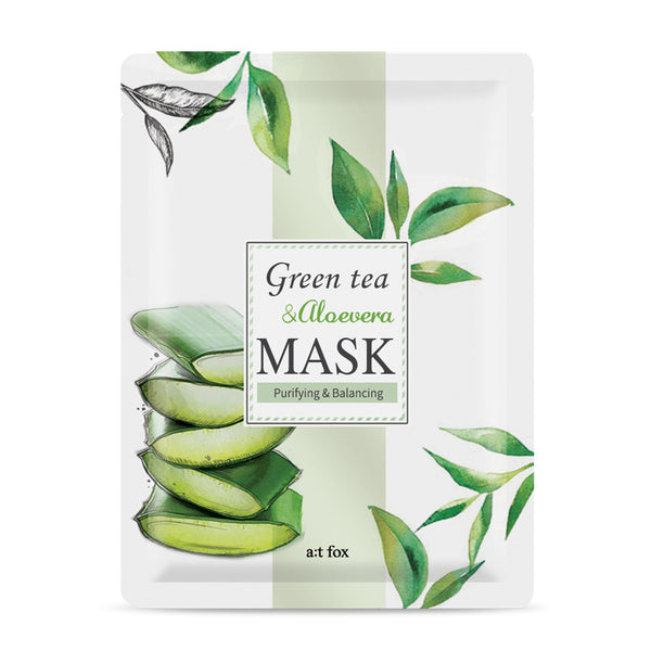 A;T FOX Purifying Green Tea & Aloe Vera Mask, 20ml - MyBeautyBar.co.uk