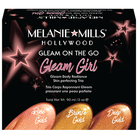 Melanie Mills Hollywood Gleam On The Go 'Gleam Girl' Skin Perfecting Trio, UK Stockist, MyBeautyBar.co.uk