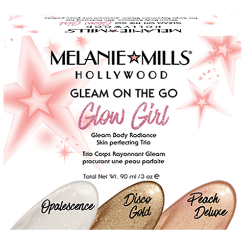 Melanie Mills Hollywood Gleam On The Go 'Glow Girl' Skin Perfecting Trio, UK Stockist, MyBeautyBar.co.uk