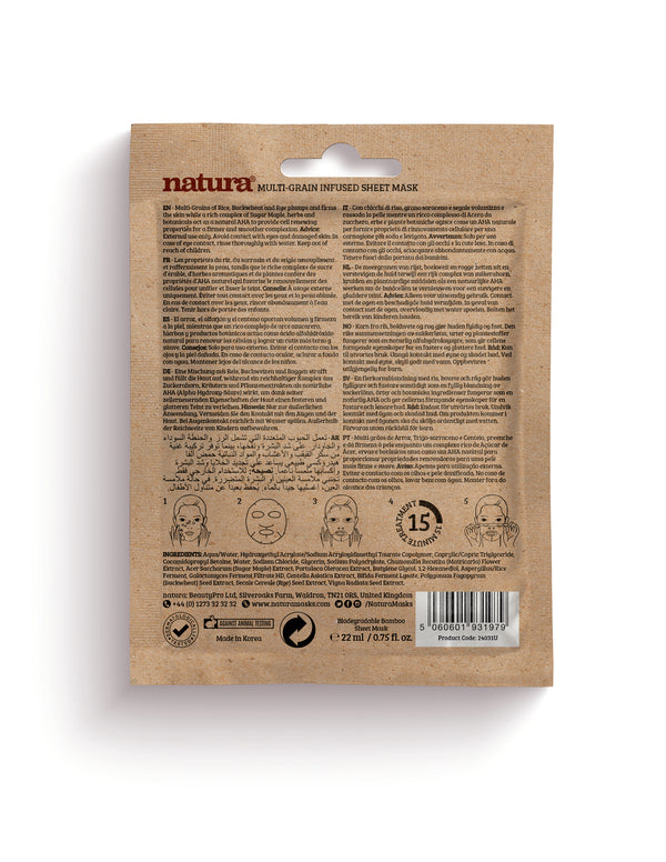 Natura Multi-Grain Infused Sheet Mask - MyBeautyBar.co.uk
