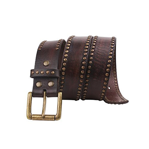 FIORETTO Mens Gradient Cow Leather Studded Belt,