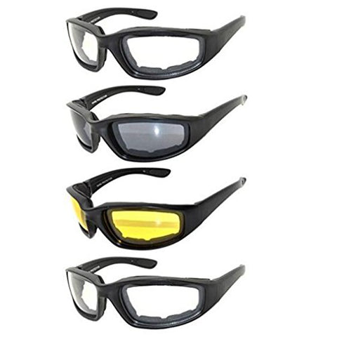 Motorcycle Glasses Riding Goggles, 4 Pcs All Weather Protectiv