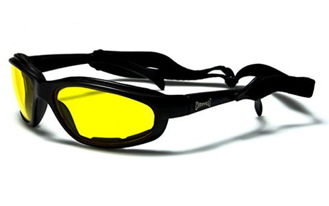 Choppers Biker padded goggles sunglasses in amber (Yellow) lens