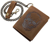 Buffalo leather biker wallet with metal chain with skull motif in brown