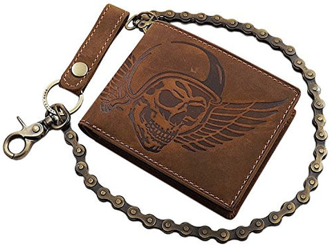 Buffalo full leather biker wallet with metal chain with skull motif
