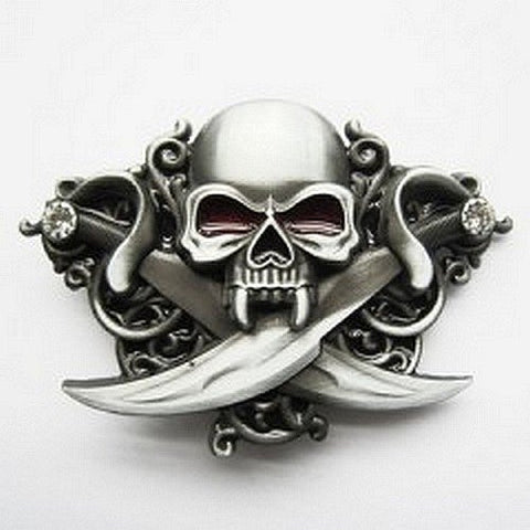 Skull sword belt buckle for belt strap biker