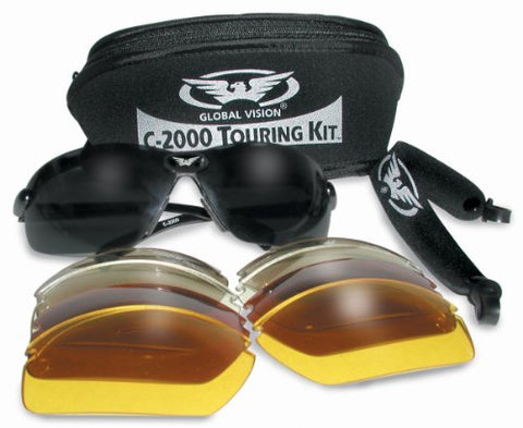 Biker Glasses  With 5 Sets Of Lenses And Storage Pouch