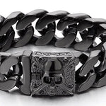 Mens Large Black Steel Curb Chain Bracelet