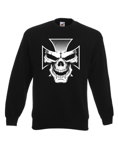 Skull And Cross Biker Sweat Shirt
