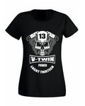 V-Twin Power Biker Lady Fit T-Shirt Biker Chick design