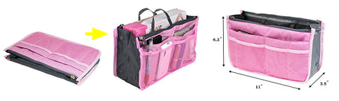 Carryall Organizer Insert Handbag  Make Up Bag Pouch Purse