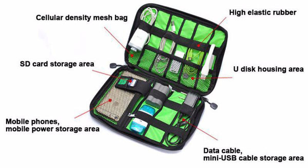 Electronic Accessories Travel Organizer Bag   Cable Cords Storage Case