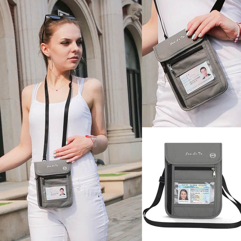 RFID Blocking Passport Neck Wallet Purse Bag Customize Personal