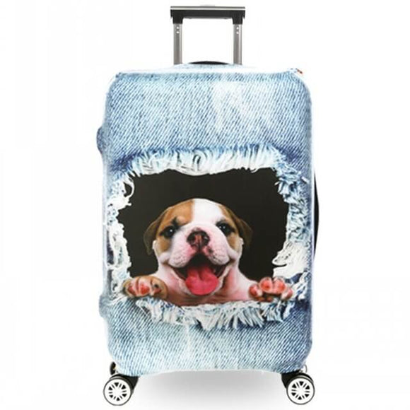 Bulldog Ripping Denim | Premium Design | Luggage Suitcase Protective Cover - Small - Luggage Cover Encompass RL