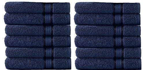 COTTON CRAFT - 12 Pack - Ultra Soft Extra Large Wash Cloths 12x12 Night Sky - 100% Pure Ringspun Cotton - Luxurious Rayon Trim - Ideal for Daily Use - Each Towel Weighs 2 Ounces
