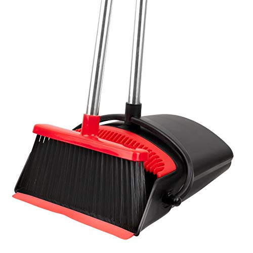 Broom and Dustpan Set - Strongest NO MORE TEARS 80% Heavier Duty - Upright Standing Dust Pan with Extendable Broomstick for Easy Sweeping - Easy Assembly Great Use for Home Kitchen Room Office Lobby Floor Pet Hair Sweeping Etc