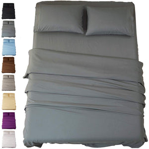 Sonoro Kate Bed Sheet Set Super Soft Microfiber 1800 Thread Count Luxury Egyptian Sheets 16-Inch Deep Pocket Wrinkle and Hypoallergenic-4 Piece(Queen Dark Grey)