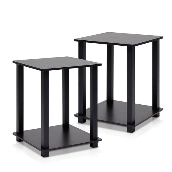 Furinno Simplistic End Table, Espresso/Black