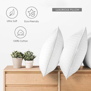 "COZSINOOR Cozy Dream Series Hotel Quality Pillows for Sleeping [Set of Two] Premium Plush Fiber, 100% Breathable Cotton Cover Skin-Friendly, Queen size 20""x30"", White"