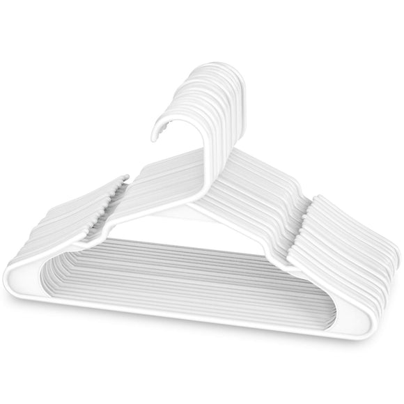 Sharpty White Plastic Hangers, Plastic Clothes Hangers Ideal for Everyday Standard Use, Clothing Hangers (White, 20 Pack)