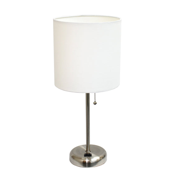 Limelights LT2024-WHT Brushed Steel Lamp with Charging Outlet and Fabric Shade, White