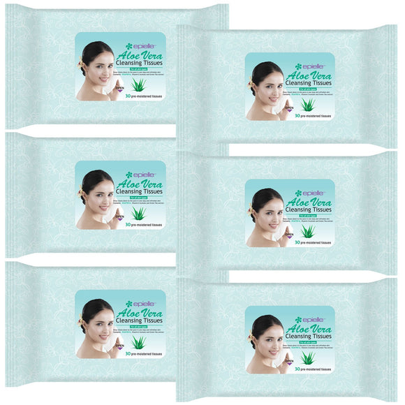 Epielle Aloe Vera Facial Cleansing Facial Tissues Wipes Towelettes - 30ct (sheets) per pack, Total 6 packs
