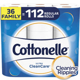 Cottonelle Ultra CleanCare Toilet Paper, Strong Bath Tissue, Septic-Safe, 36 Family+ Rolls