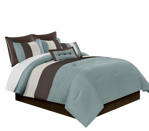 Chezmoi Collection 90 x 92-Inch 8-Piece Luxury Stripe Comforter Bed-in-a-Bag Set, Blue/Beige/Brown, Queen