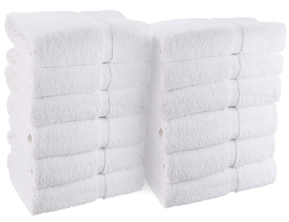 Wealuxe Cotton Hand Towels - Soft and Lightweight - 16x27 Inch - 12 Pack - White