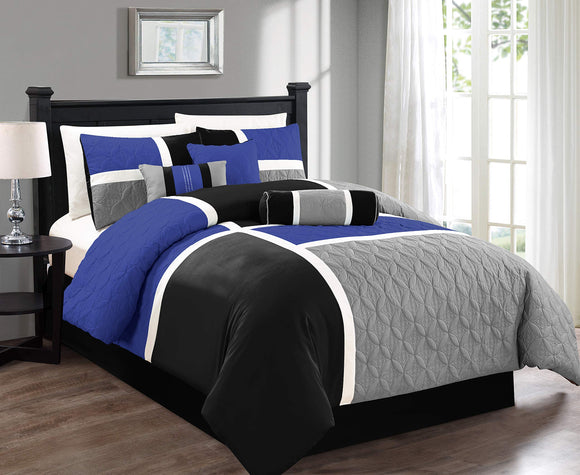 Chezmoi Collection Upland 7-Piece Quilted Patchwork Comforter Set, Gray/Blue/Black, Queen