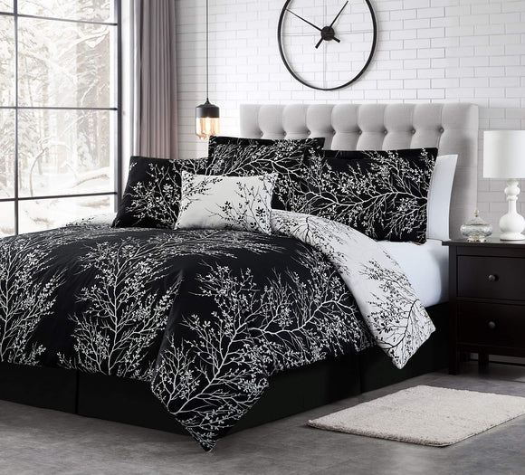 Spirit Linen 6pc Warm and Cozy Comforter Set Platinum Bedding Collection Baby Soft Texture Plush Bed Blanket (Black, Queen)