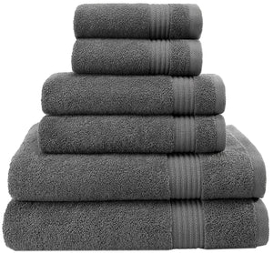 Hotel & Spa Quality, Absorbent & Soft Decorative Kitchen & Bathroom Sets, 100% Turkish Genuine Cotton 6 Piece Towel Set, Includes 2 Bath Towels, 2 Hand Towels, 2 Washcloths - Charcoal Grey