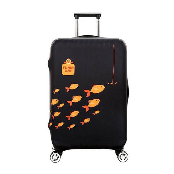 Swimming Fishes Black | Standard Design | Luggage Suitcase Protective Cover - Small - Luggage Cover Encompass RL