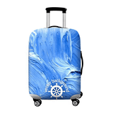 Blue Nautical Wheel | Standard Design | Luggage Suitcase Protective Cover - Small - Luggage Cover Encompass RL