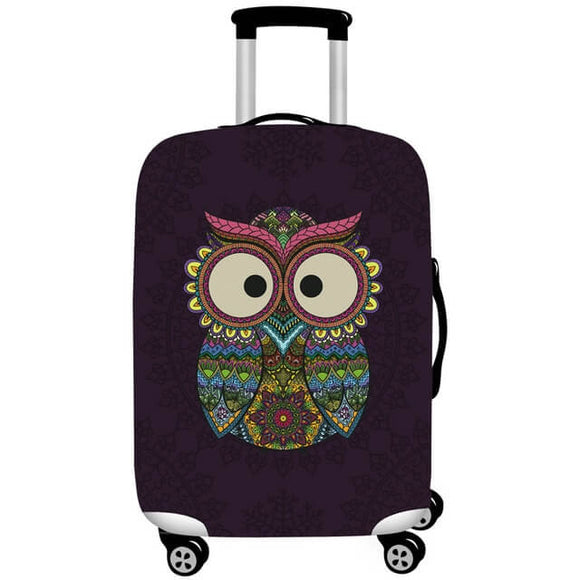 Sugar Skull Owl | Standard Design | Luggage Suitcase Protective Cover - Small - Luggage Cover Encompass RL