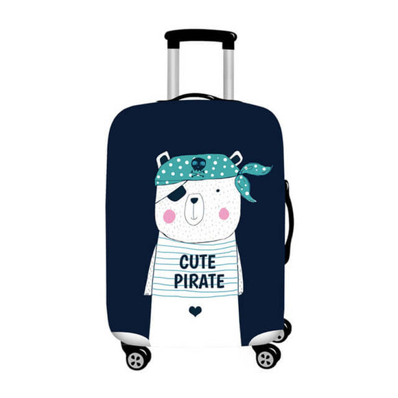 Cute Pirate Bear | Standard Design | Luggage Suitcase Protective Cover - Small - Luggage Cover Encompass RL